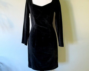 Vintage Loucas Kleanthous LBD, Black Velvet Dress, Size 10 Canadian Designer Dress, Early 90s Fashion,  Little Black Dress, Wiggle Dress Fit