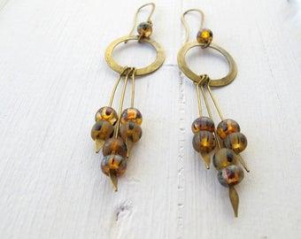 Rustic Hoop with Dangles Earrings, Long Bohemian Dangle Earrings, Boho Czech Glass Jewelry, Golden Picasso Glass Earrings, Festival Fashion