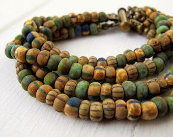 Bohemian Multi Strand Bracelet, Rustic Czech Glass Bracelet, Chunky Layered Beaded Bracelet, Boho Hippie Chic Jewellery