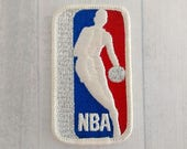 """Vintage 3.5"""" Sew On NBA Patch, National Basketball Association Applique, Sports Throwback Logo Collectible"""