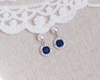 Blue Sapphire Bridal Earrings, Sapphire Bridal Earrings, CZ Blue Sapphire Pearl Stud Earrings, Round CZ Swarovski Pearls Stud Earrings