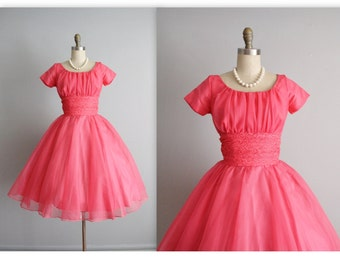 50's Chiffon Dress //  Vintage 1950's Hot Pink Chiffon Lace Party Prom Dress XS