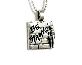 Sterling Inspirational Jewelry, Sterling Graffiti Jewelry, Strength Jewelry Hand Stamped, Robin Wade Jewelry, Stella Is Strong Pendant, 2197