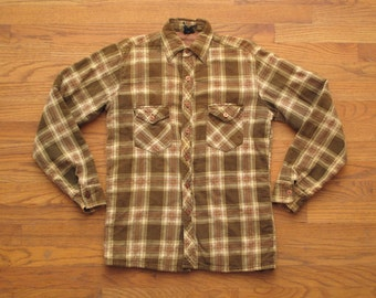 mens vintage quilted flannel shirt