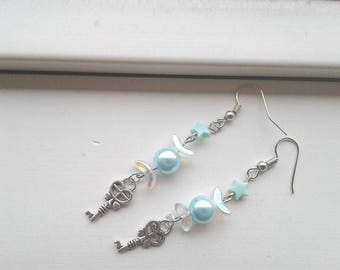Sailor Moon Earrings - Sailor Mercury Key earrings- Czech Glass, Fairy Kei, Sailor Scout jewelry