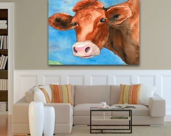 Watercolor Painting - Red Heifer Cow Bovine Country Art Print