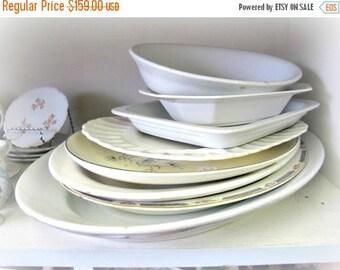 Antique Ironstone Porcelain Serving Platter Platters Bowl Bowls - Plate Dish - Cottage Chic