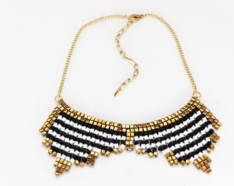 Beaded Collar Necklace in Black, White & Bronze