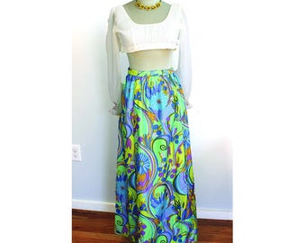 1960s Flower Power Maxi Skirt // Small