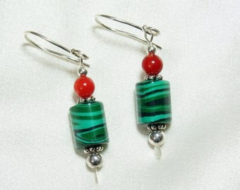 Malachite Earrings with Red Coral