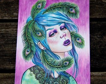 ORIGINAL PAINTING - Beautiful Peacock Pin Up Girl Watercolor Painting - Exhale by Carissa Rose - 8x10 inches