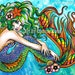 Tattoo Art Print Beautiful Mermaid PIn Up Girl Print By Carissa Rose - 5x7, 8x10, or Apprx 11x14 Signed Print - Colorful Rainbow Lady