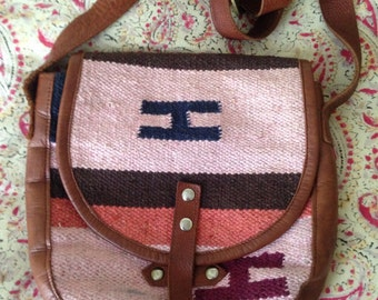 Navajo and Leather Lined Crossbody Bag