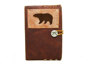 Small Leather Journal with Brown Bear in Merlot Saddle