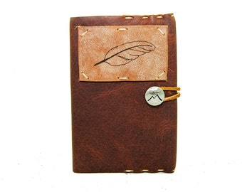 Small Leather Journal with Feather in Merlot Saddle