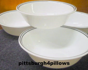 4 - Corelle - 2 Black Bands / Rings - Soup / Salad / Cereal  Bowls - 6 1/4 - EUC - Read Below - Price Is For All