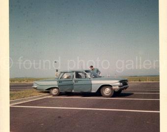 Digital Download, Man with 1960's Blue Rambler in Parking Lot, Printable, Vintage Photo, Color Photo, Kodak Photo, Found Photo, Vernacular