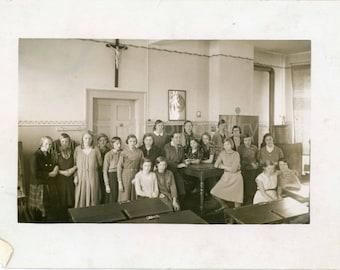 Vintage Photo, Classroom of German Girl Students, Black & White Photo, Found Photo, Old Photo, Vernacular Photo, School Photo