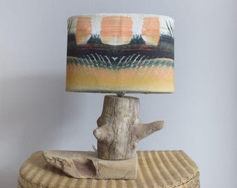 Driftwood lamp and original print shade