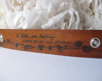 A little sea bathing would set me up forever - Jane Austen - Wide Leather Bracelet - Hand scripted quote and beach themed doodles - Rustic