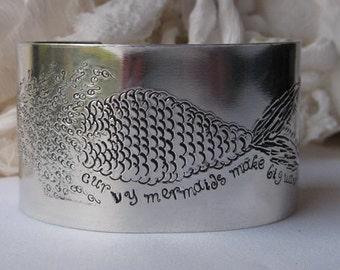 Curvy Mermaids Make Big Waves, Handstamped Wide Aluminum Cuff, Swimming Mermaid Bracelet, Mermaid Lovers Gift, Must Love Mermaids, Wide Cuff