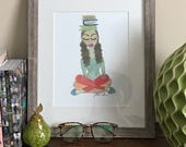 AneMy Reads- Boho Art, Yoga Art Print, Illustration, Wall Art, Native American Art, gifts for booklovers by LeMahogany Art