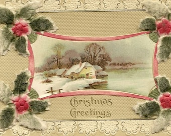 Stunning Novelty Bas Relief Vintage Christmas Postcard Flocked Attached Holly Accents and Winter Country Cottage By the Lake circa 1910