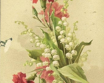 Bouquet of Lily-of-the-Valley and Red Carnations Artist Signed Unused Antique Postcard Catherine Klein – Suitable for Framing