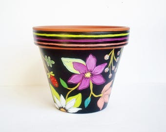 """Hand Painted Planter 6 Inch Terracotta Pot """"Brightly on Black"""" Ready to Ship"""