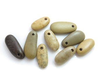 Top Drilled Medium Beach Stones, Organic Beads Jewelry Supplies, DIY Pebbles,Eco friendly stones for Jewelry Design, Finger shape stones