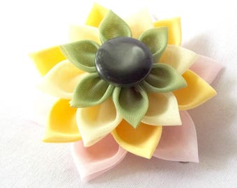Large Fabric Hair Flower Pink Yellow Green Water Lily or Succulent Kanzashi Clip