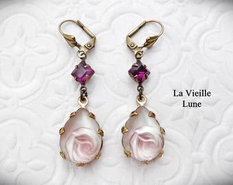 Purple Victorian Earrings, Amethyst Rosebud Vintage Glass Jewel Earrings, Victorian Jewelry