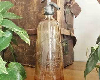 Antique French Pink Glass Seltzer Bottle