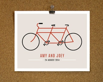 Personalised Art Print / 'Retro Tandem Bicycle' Art Print / Home Wall Room Wedding Decor / Just Married / Romantic Love Gift / MEDIUM SIZE