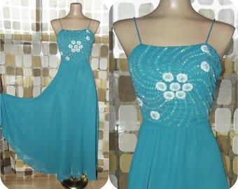Vintage 70s Dress | 1970s Beaded Dress | Full Sweep Midi Gown | Dancing Dress | Teal Sheer Georgette | Size Small/ Medium