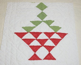 Sweet Red and Green Flower Basket Antique 1800s Cutter Quilt Piece - 40 by 13 Inches, 3 Designs