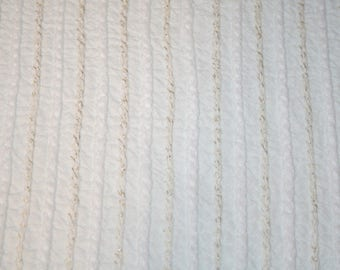 White Chenille Fabric | White Cabin Crafts Braided Stripes, Gold Metallic Accents Vintage Chenille Bedspread Fabric Piece - 36 x 24 Inches