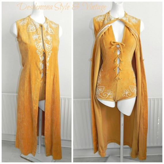 Vintage genuine 1960s J. Tiktiner mustard velvet embroidered lace up swimsuit maxi waistcoat cover pool party Resort cote d'azur RARE
