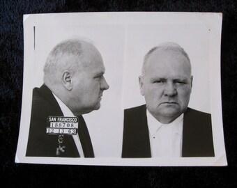 1963 San Francisco  Police Department Criminal MUG SHOT 69 Year Old Tough Guy Wanted Man Escapee