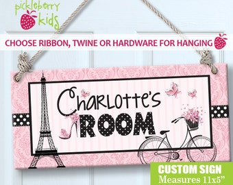 Custom PERSONALIZED Kids Wall Sign Room Decor Door Plaque Little Girls Pretty in Pink Paris Ooh LaLa Eiffel Tower Girl Theme Sign GREAT Gift