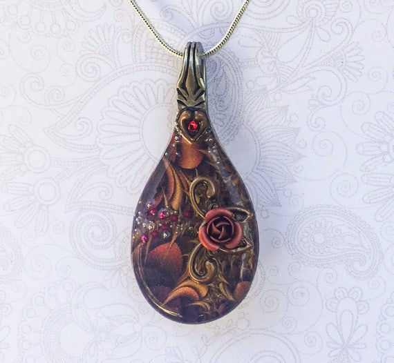 Resin Spoon Necklace,  Red Rose Pendant with Brown Fractal Background