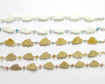 Cloud Bracelet- hand painted shrink plastic and semi-precious gems