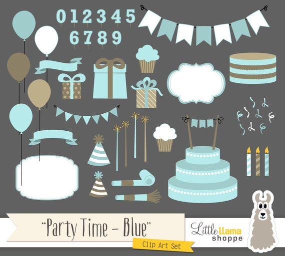 Party Clipart, Birthday Party Clip Art, Blue Cake Present