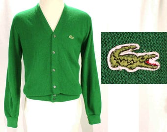 Men's Izod Lacoste Cardigan - Mens Large Preppie Green Knit - Alligator - Crocodile Logo - V Neck Button Front Sweater - Chest 44 - 48994