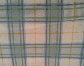 Green, Blue and Yellow Plaid on White Cotton Flannel Fabric 2 1/4 Yards X0749