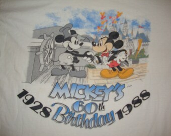 Vintage 80's Walt Disney 1988 Mickey Mouse 60th Birthday Cartoon T Shirt Adult size L