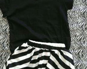Black and White Stripe skirt and Shirt, Black and White Skirt, Black Shirt, Toddlers outfit, Childrens Clothes