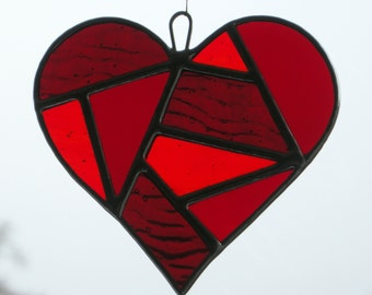 Abstract Stained Glass (Love Heart) in three shades of Reds