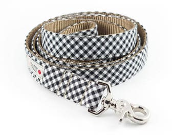 Black Gingham Dog Leash