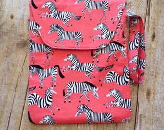 Diaper Pouch for baby girl - Coral Zebra Fabric - diaper clutch with wrist strap